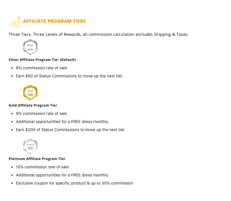 Saledress Auto tier commission model