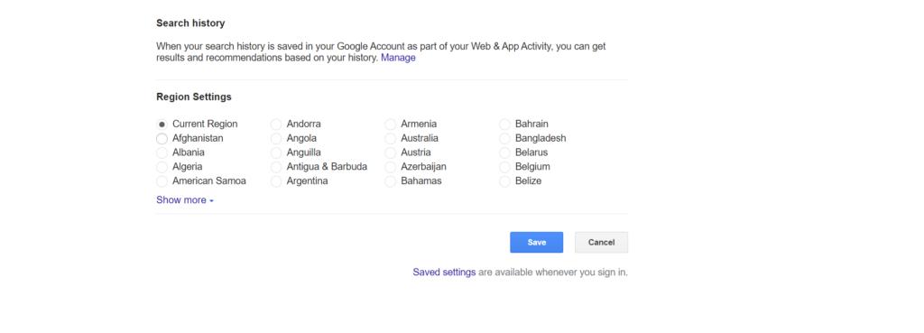Change location on Google